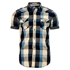 Pánská modro-šedá kostkovaná košile SixValves