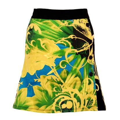 Dámská žluto-zelená sukně Smash s potiskem