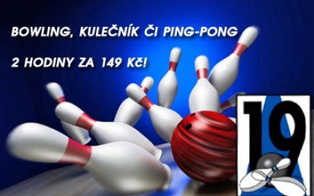 2 hod. zábavy: BOWLING a KULEČNÍK či PING-PONG s možností prodloužení hry! Neomezený počet hráčů na dráhu! Pobavte se s přáteli ve známém a oblíbeném Bowling Clubu 19 naproti O2 aréně!