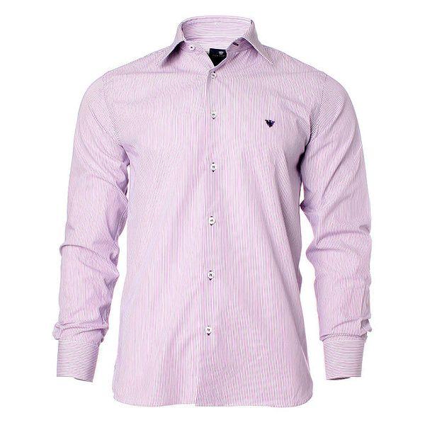 Pánská fialovo-bílá košile s proužky Caramelo