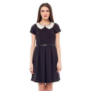 Dámské černé šaty s perlovým límcem 4Lilou