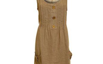 Dámské hnědo-béžové lněné šaty s kapsami Puro Lino