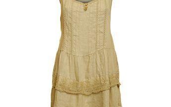 Dámské béžové lněné šaty s krajkovým lemem Puro Lino