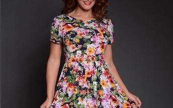 Dámské zeleno-růžové květinové šaty Simonette
