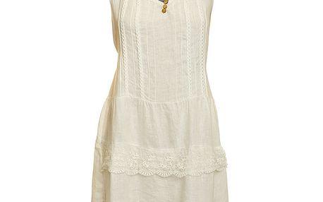 Dámské bílé lněné šaty s krajkovým lemem Puro Lino
