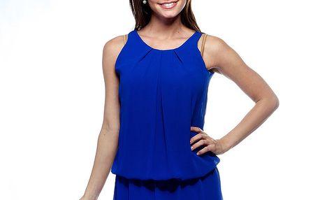 Dámské zářivě modré šaty Trois Quatorze s krajkou