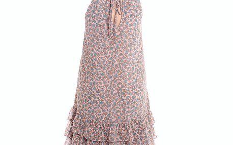 Dámské růžovo-modré volánové šaty s květinovým potiskem 2two