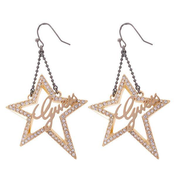Dámské zlaté hvězdy do uší Guess