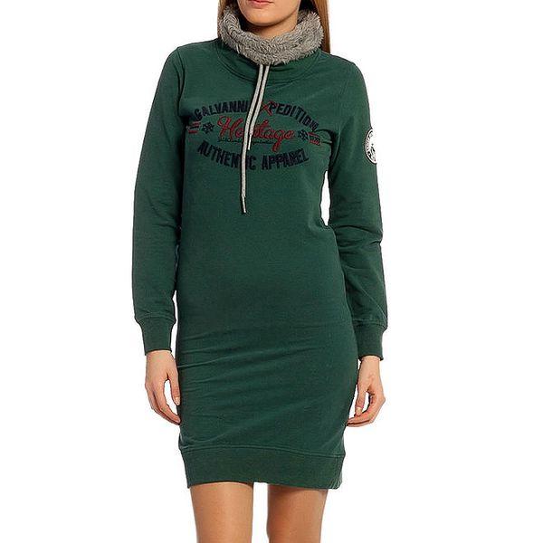 Dámské zelené šaty se stojáčkem Galvanni