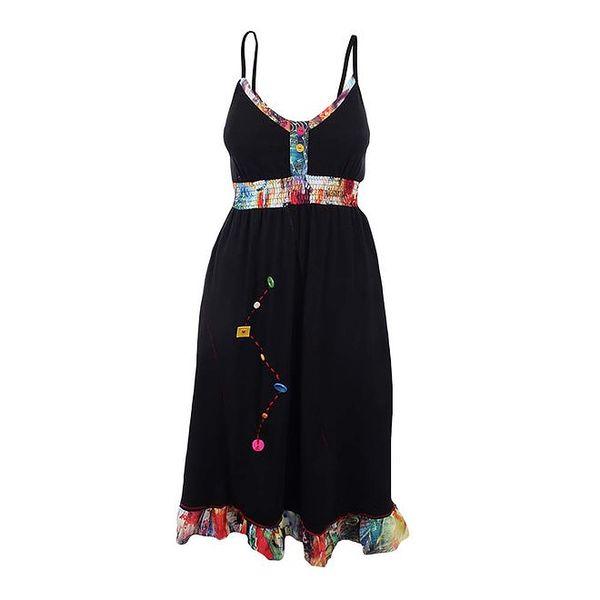 Dámské černé šaty se žabičkováním a knoflíkovou dekorací Dislay DY Design