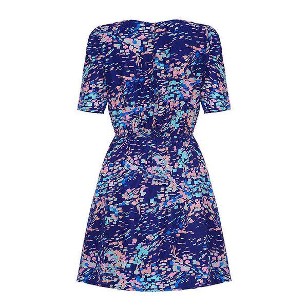 Dámské tmavě modré šaty s barevným vzorem Yumi