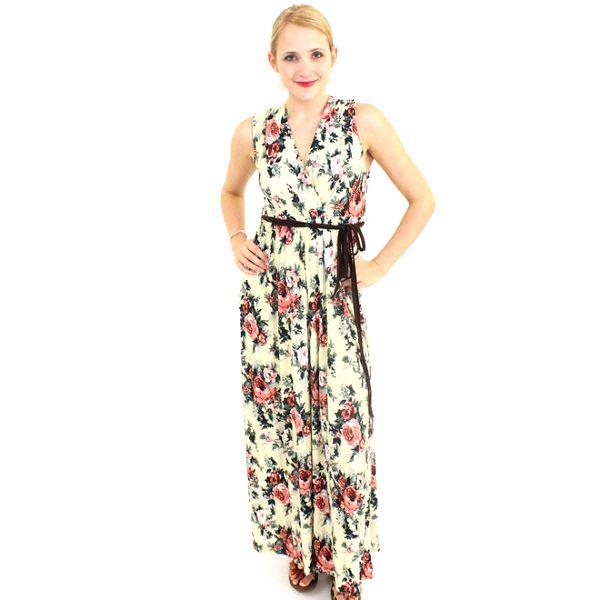 Dámské bílé maxi šaty Superstition s motivem růží