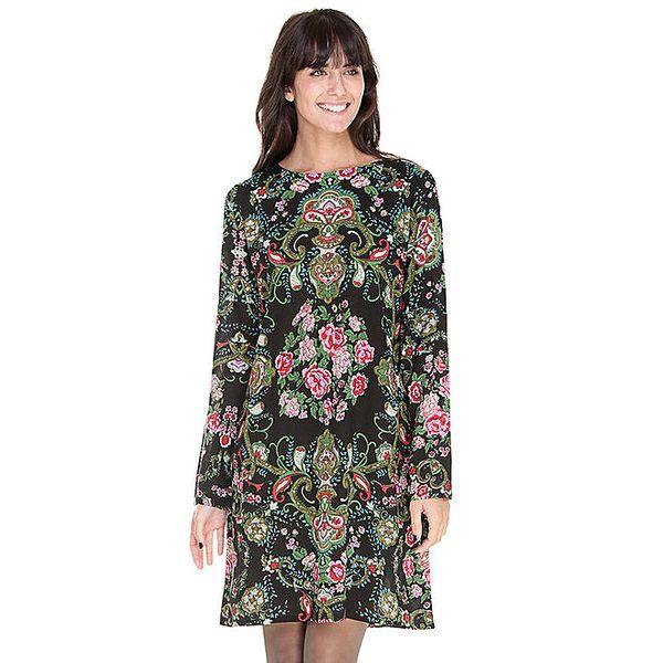 Dámské černé šaty s květinovým potiskem Peace&Love