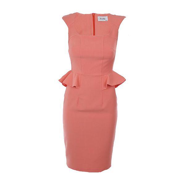 Dámské meruňkové peplum šaty Estella
