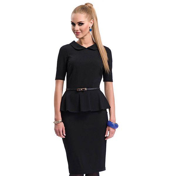 Dámské černé peplum šaty Zaps
