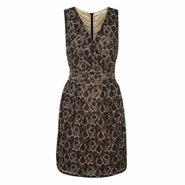Dámské šaty s černobéžovou krajkou Uttam Boutique