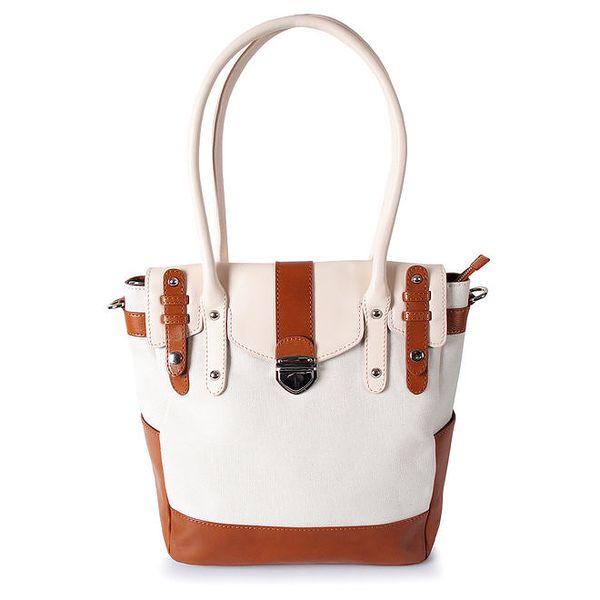 Dámská bílá kabelka s karamelovými detaily Belle&Bloom
