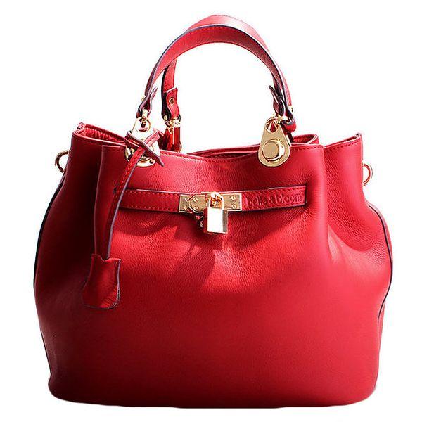 Dámská červená kožená kabelka se zámečkem Belle & Bloom