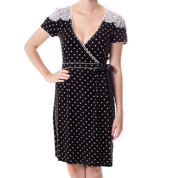 Dámské černé puntíčkované šaty Vive Maria
