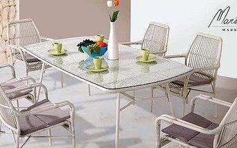 Jídelní stůl a šest židlí v luxusním designu Provence