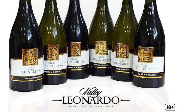 6 lahví moldavských vín Leonardo Valley