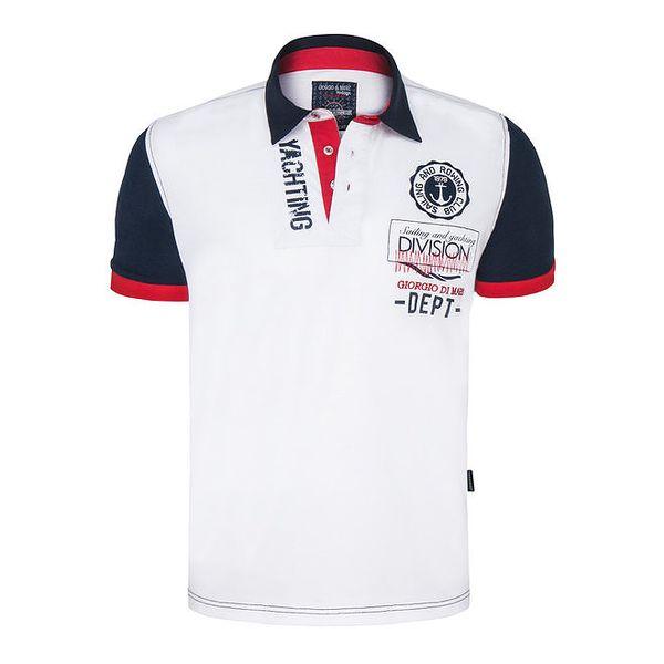 Pánské bílo-modro-červené polo tričko s výšivkou Giorgio Di Mare