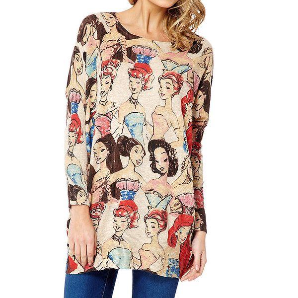 Dámský béžový svetr s dámami Miss Jolie