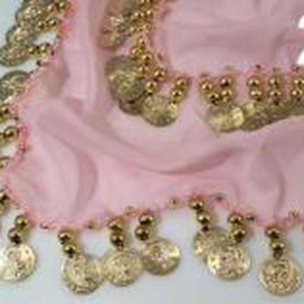 Shakira šátek velký rozměry 75x140cm s penízky růžová stř. Stoklasa
