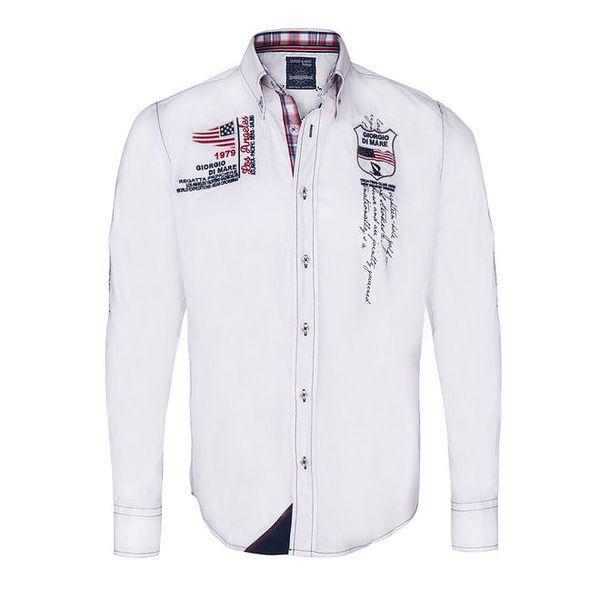 Pánská bílá košile s výšivkami Giorgio di Mare