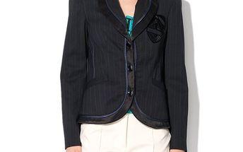 Dámské černé sako s modrými lemy Roccobarocco