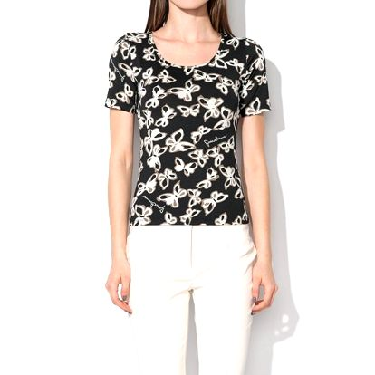 Dámské černé tričko s motýlky Roccobarocco
