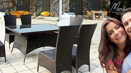 Stůl Malaga s kouřovým sklem a 6 vysokými křesly