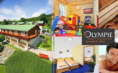 Kkonoše - pobyt v nádherném hotelu Olympie***+ Špindlerův Mlýn pro 2 osoby na 3 dny s polopenzí s malebným výhledem na údolí Svatého Petra. V ceně whirpool, sauna, bazén,zapůjčení horských kol a další bonusy!!! Děti do 5,9 let zdarma!
