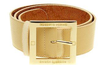 Dámský béžový pásek se zlatou sponou Roberto Verino