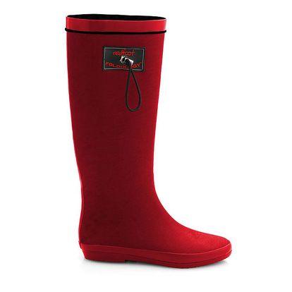Dámské matné červené rolovací holínky RedFoot s černými detaily