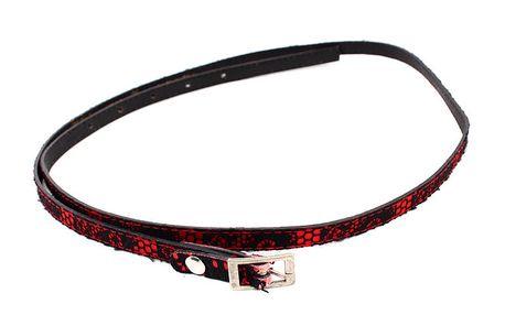 Dámský červený pásek s černou krajkou Bagatt