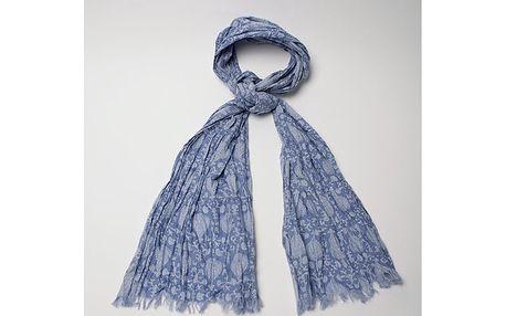 Dámský modře vzorovaný šátek Wanda