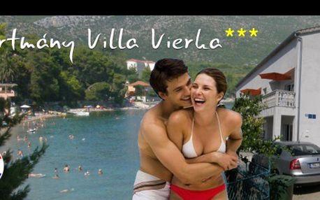 Ubytování v Chorvatsku v apartmánech Villa Vierka pro 3-6 osob na 5 nocí se slevou 50% (vychází na 206 Kč/osobu/noc)