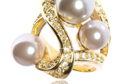 Dámský zlatý prsten Bague a Dames s perlami