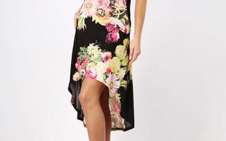 Dámské asymetrické letní šaty zdobené květinami