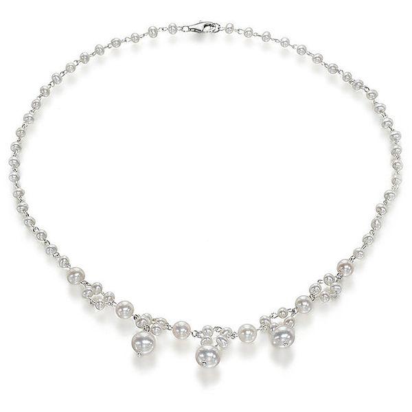 Dámský bílý perlový náhrdelník Orchira se třemi velkými perlami