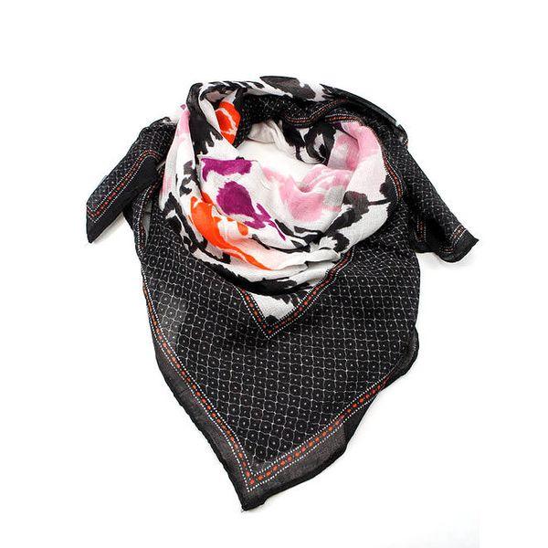 Dámský černý šátek s barevným potiskem Invuu London