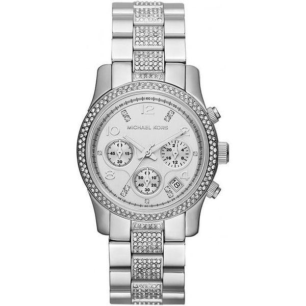Dámské ocelové hodinky Michael Kors a krystalky kolem ciferníku a na řemínku