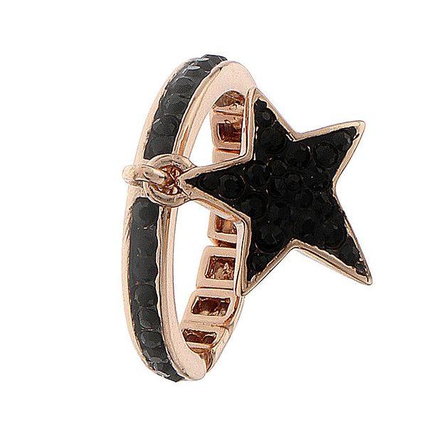 Dámský ocelový prstýnek Guess s černými kamínky