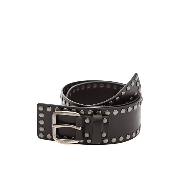 Dámský černý kožený pásek s kovovými cvoky