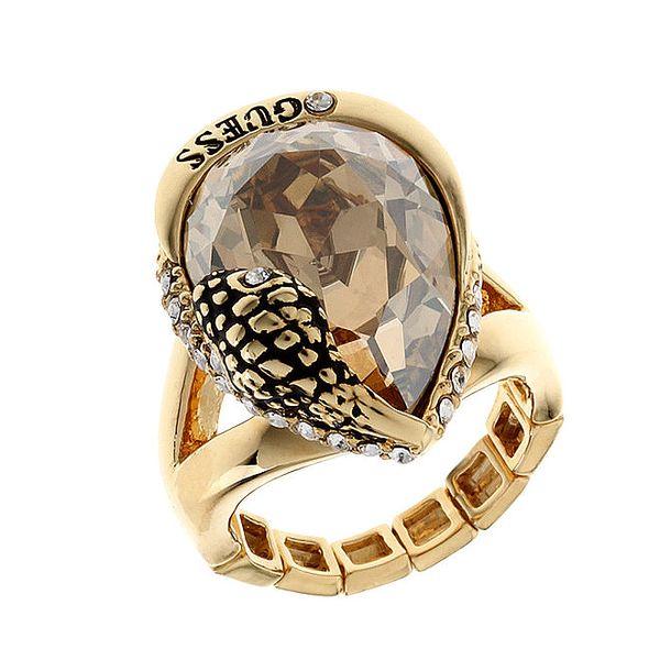 Dámský zlatý masivní prsten kamenem a hadí hlavou Guess