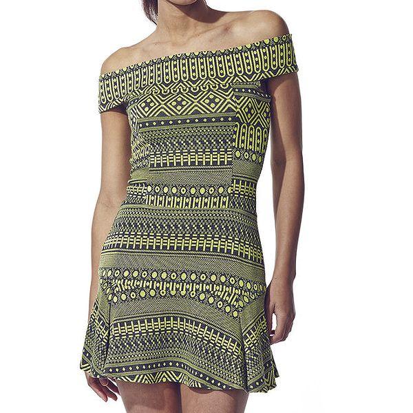 Dámské limetkově zelené šaty s aztéckým potiskem Liquorish