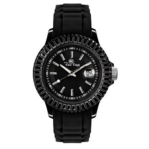 Černé hodinky se silikonovým páskem a datumovkou Riko Kona