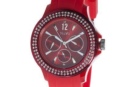 Červené hodinky NuVo se Swarovski Elements