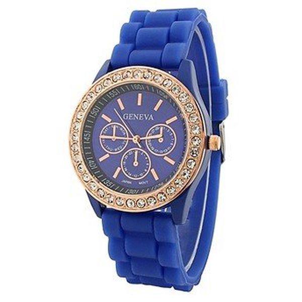 Geneva with rhinestones flint Color/Blue, dámské hodinky